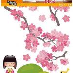 Nouvelles Images, Muurstickers cherrytree & kokeshi XXL-0