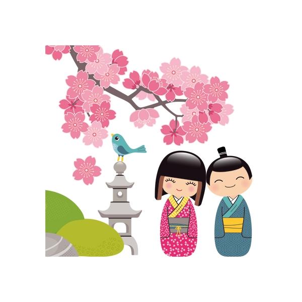 Nouvelles Images, Muurstickers cherrytree & kokeshi XXL-3980