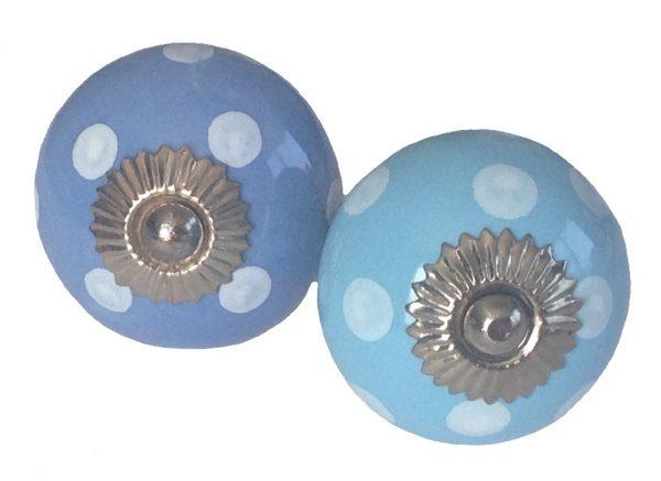 La Finesse, Deurknop blauw stip wit-7154