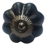 La Finesse, Deurknop bloem zwart / zilver-0
