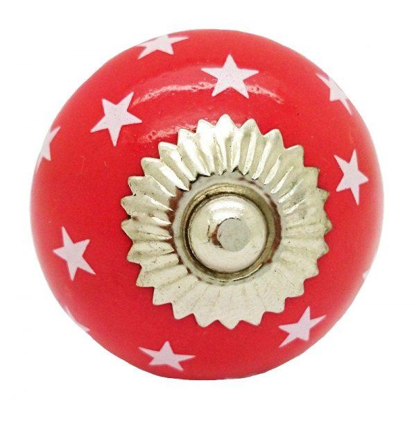Deurknop rood ster wit