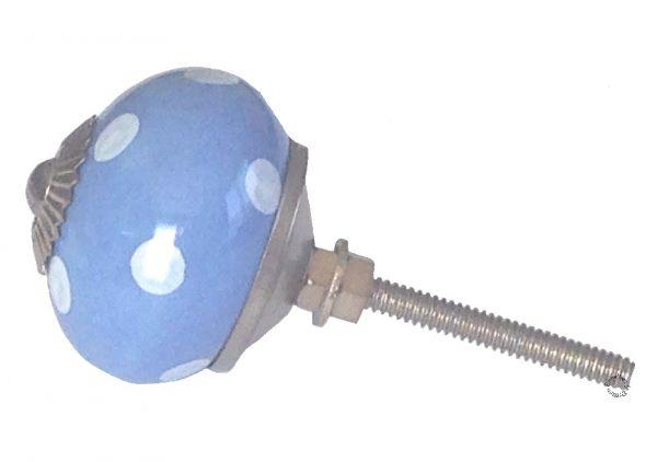 La Finesse, Deurknop blauw stip wit-7153