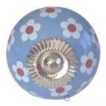 deurknop, la, finesse, la finesse, knop, kast, lade, laadje, blauw, wit, bloem, flower,