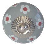 deurknop, la, finesse, la finesse, knop, kast, lade, laadje, grijs, wit, bloem, flower,