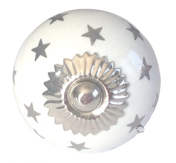 La Finesse, Deurknop wit rond sterren zilver-0