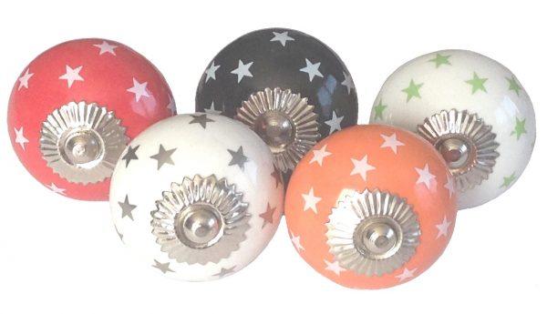 La Finesse, Deurknop oranje met witte sterren-7074