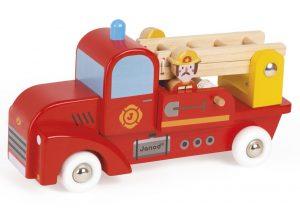 Trekfiguur brandweerwagen met 2 brandweermannen