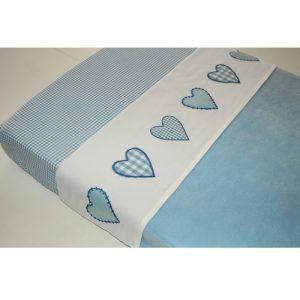 Taftan, Ledikant lakentje hartjes blauw -0