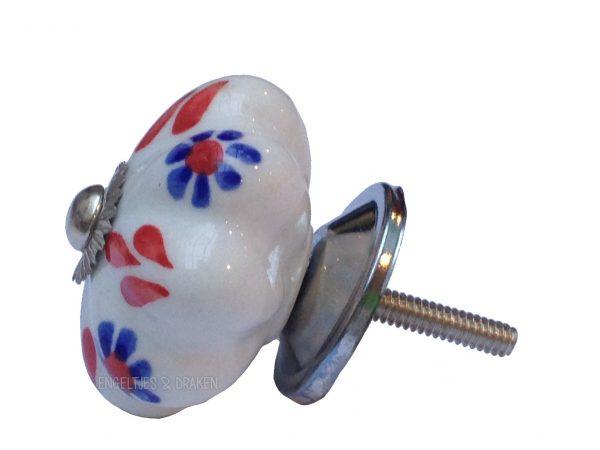 Deurknop bloem rood / blauw-13369