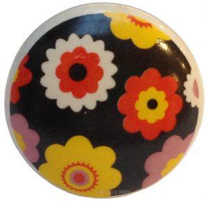 Deurknop retro bloemen