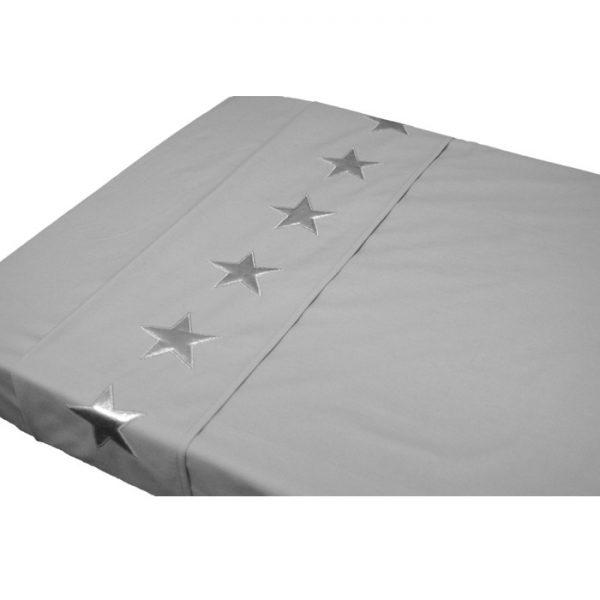 Engeltjes & Draken | Taftan | Laken grijs met zilveren sterren
