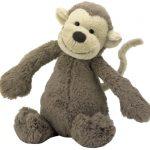Jellycat, Knuffel aap Bashful monkey 18 cm.