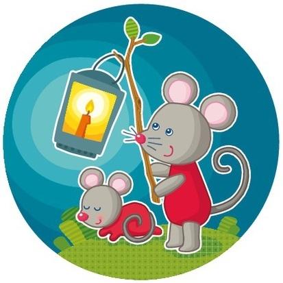Projectie nachtlampje muizenfamilie, Haba