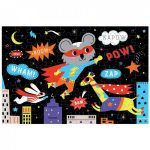 Mudpuppy, Glow in the dark puzzel super hero (100 stukjes)-33408