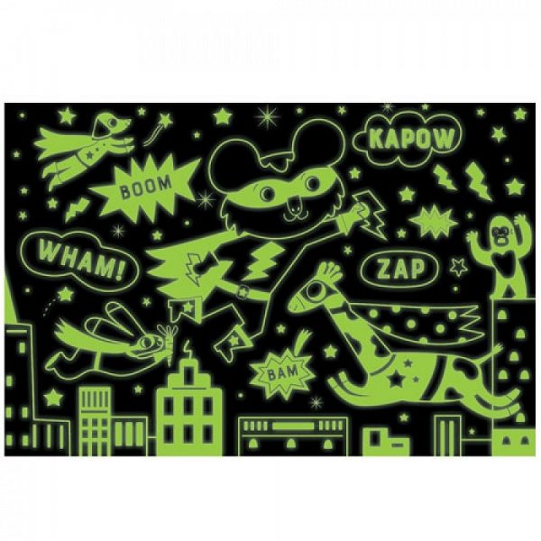 Mudpuppy, Glow in the dark puzzel super hero (100 stukjes)-33407