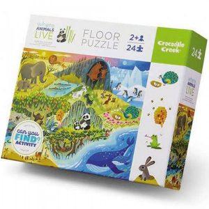 Puzzel Where animals live (24stukjes), Crocodile Creek