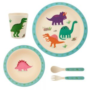 Bamboe servies roarsome dino, Sass & Belle