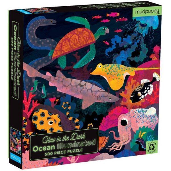 Glow in the dark puzzel ocean life (500 stukjes), Mudpuppy